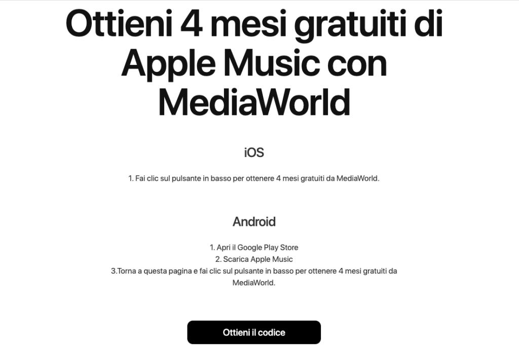 4 mesi Apple Music