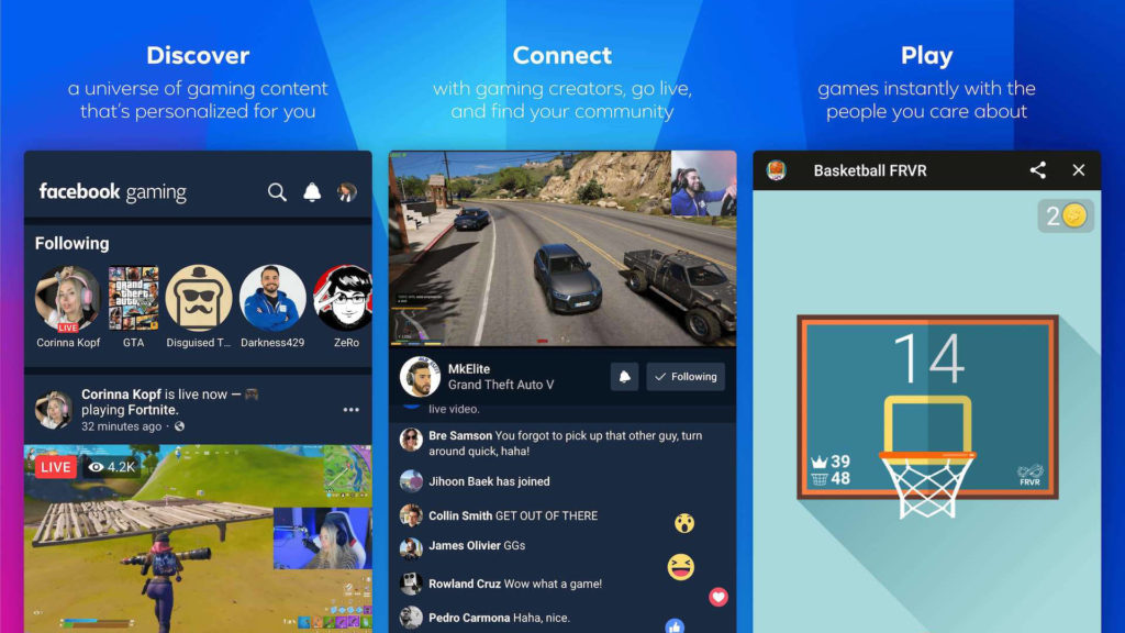 Schermate dell'app Facebook Gaming